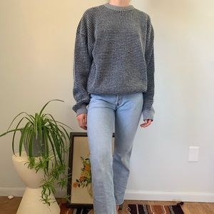 Vintage 80s 90s Knit Black Gray Oversized Sweater